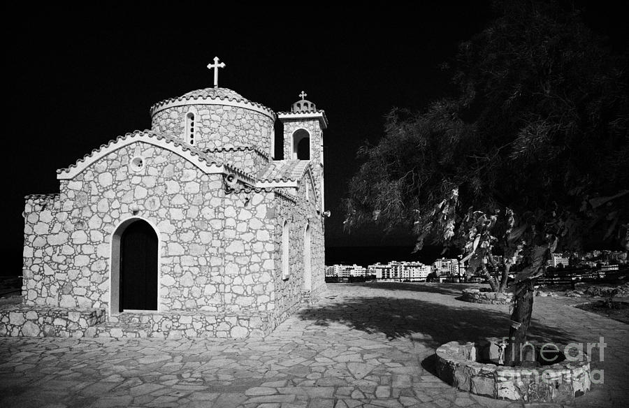 Prophet Elias Church Profitis Ayios Elias With Prayer Rag Trees Hilltop Protaras Republic Of Cyprus Photograph  - Prophet Elias Church Profitis Ayios Elias With Prayer Rag Trees Hilltop Protaras Republic Of Cyprus Fine Art Print