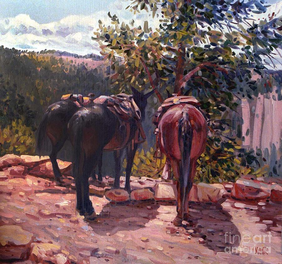 Resting On The Kaibab Trail Painting  - Resting On The Kaibab Trail Fine Art Print