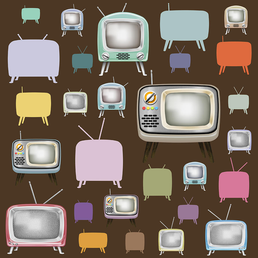 retro TV pattern  Painting  - retro TV pattern  Fine Art Print