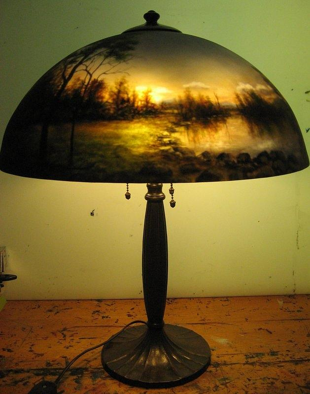 Reverse painted lamp painting by nancy magnell for Painting light shades