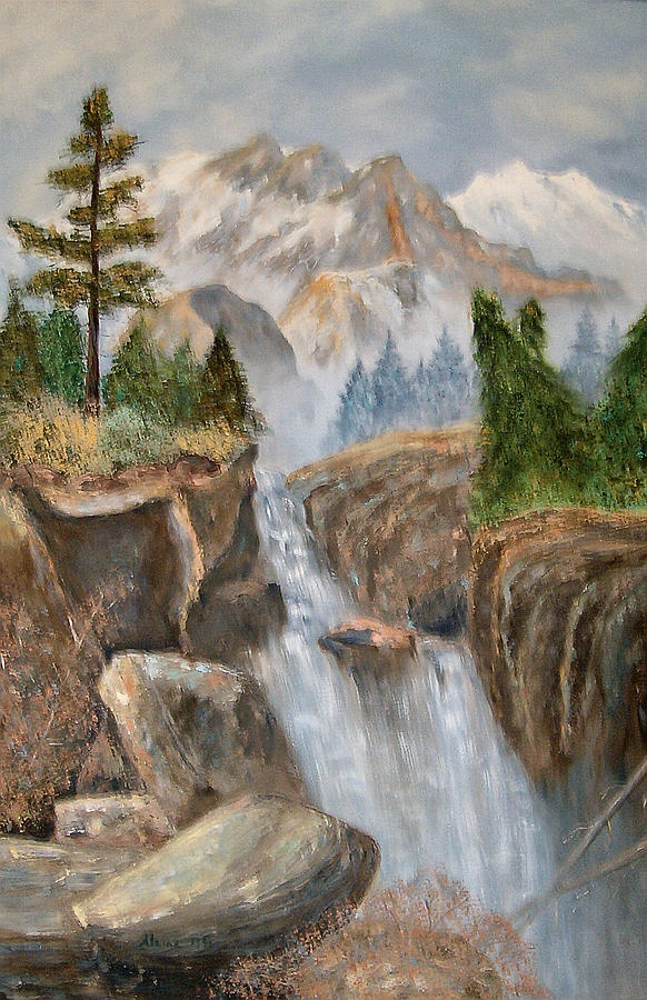 Rocky Mountain Waterfall Painting  - Rocky Mountain Waterfall Fine Art Print