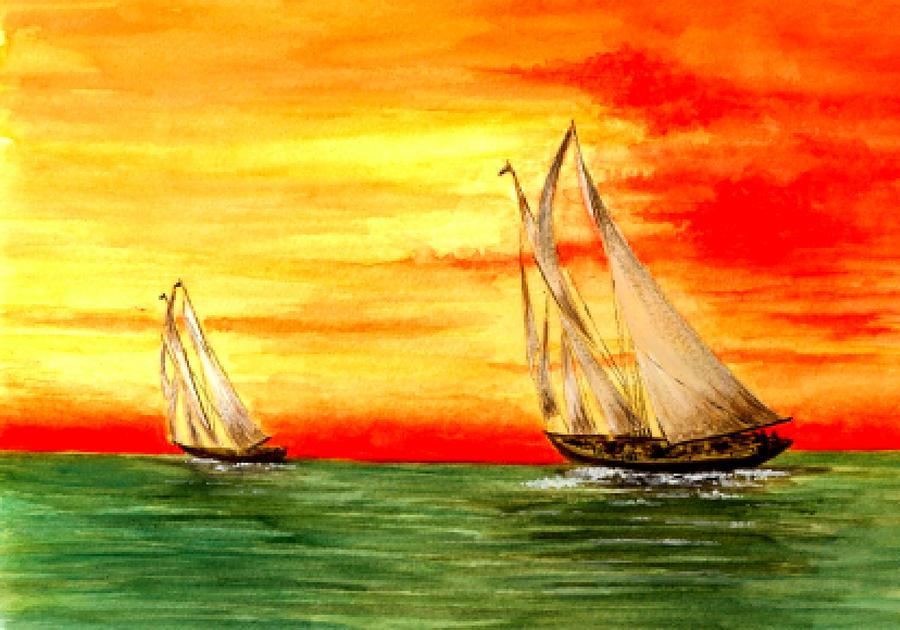 2 Sailboats Painting