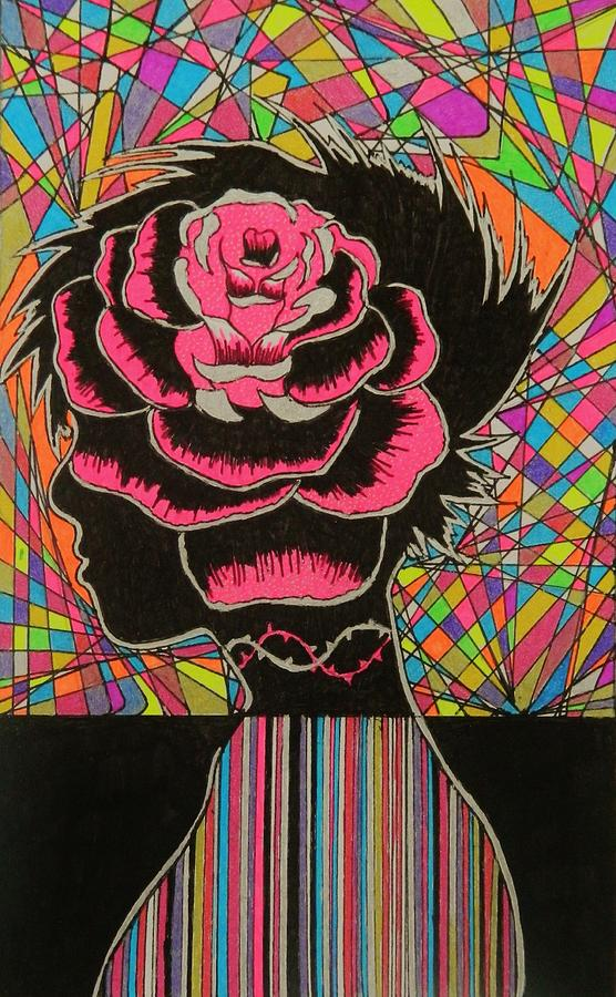 She Wears A Rose In Her Hair Drawing