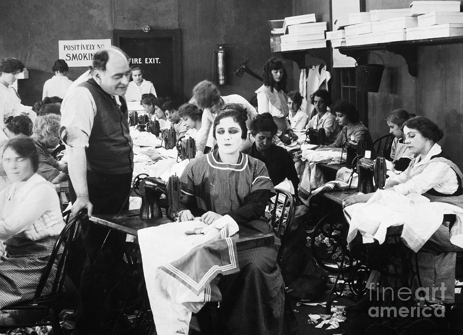 Silent Film Still: Sewing Photograph  - Silent Film Still: Sewing Fine Art Print