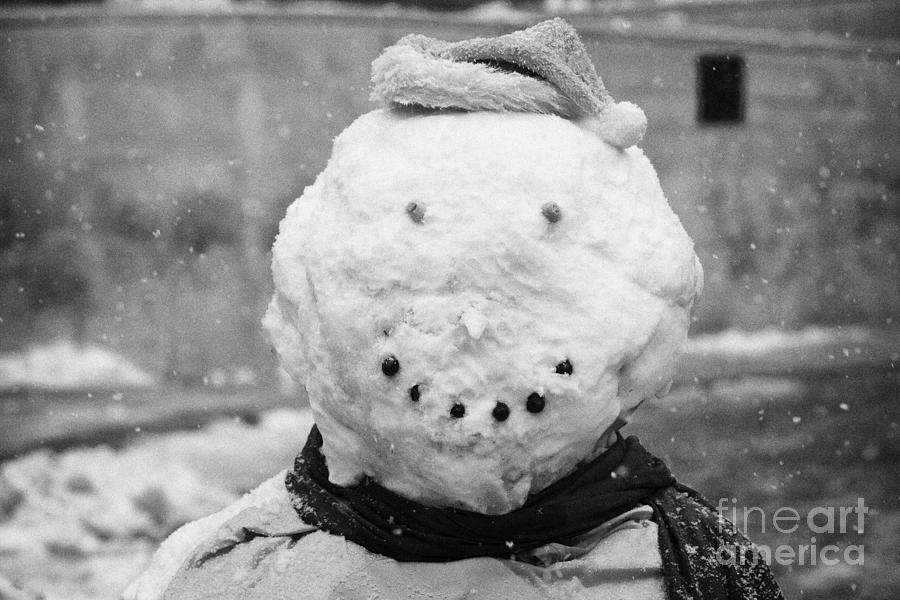 snowman on a cold snowy winters day Belfast Northern Ireland Photograph  - snowman on a cold snowy winters day Belfast Northern Ireland Fine Art Print