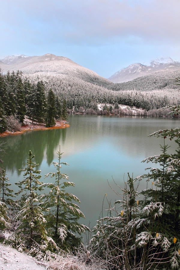 Snowy Green Lake Sunset Whistler B.c Canada Photograph