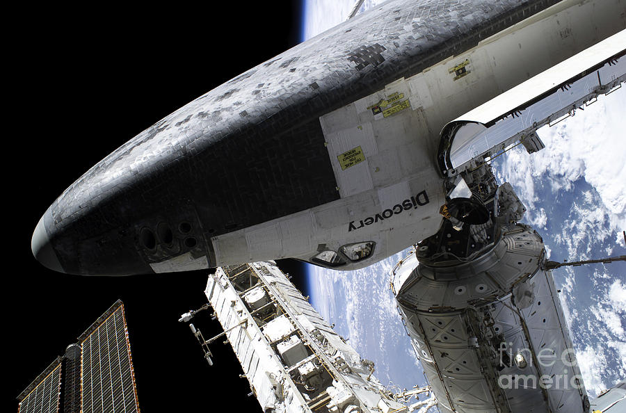 Adults Only Photograph - Space Shuttle Discovery Docked by Stocktrek Images
