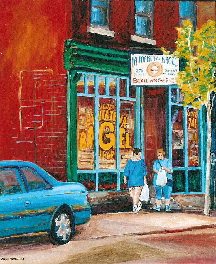 Best Art Of Montreal Painting - St. Viateur Bagel Shop by Carole Spandau