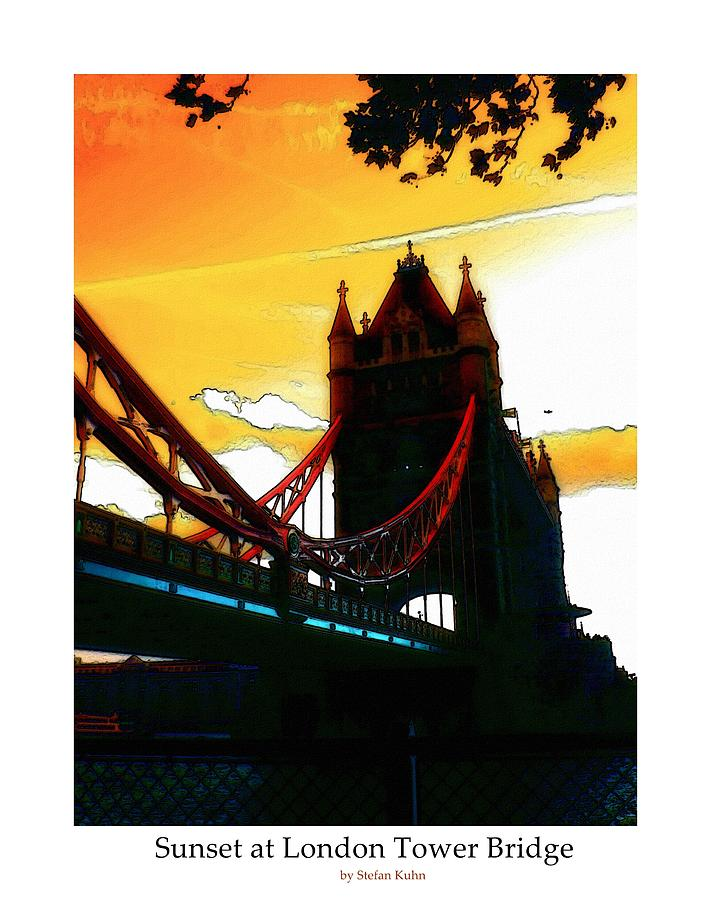 Sunset At Tower Brigde Digital Art  - Sunset At Tower Brigde Fine Art Print