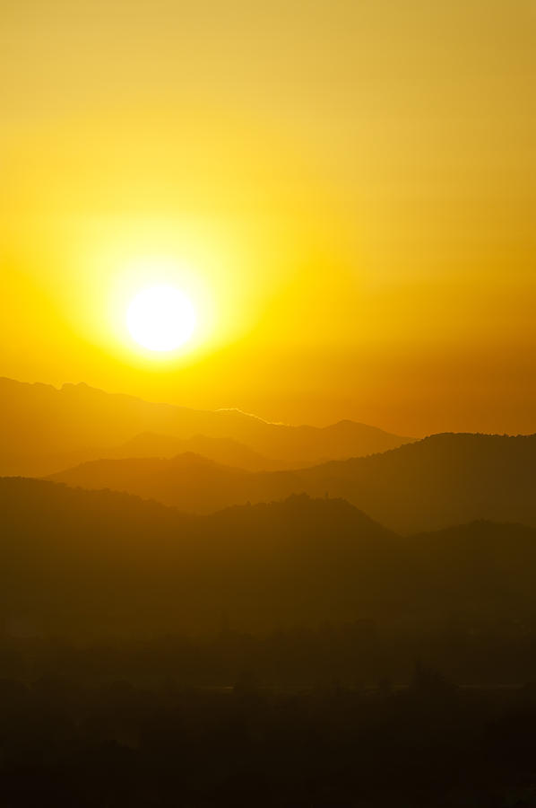 Sunset Behind Mountains Photograph