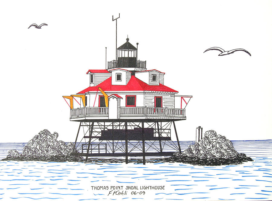 Thomas Point Shoal Lighthouse Drawing