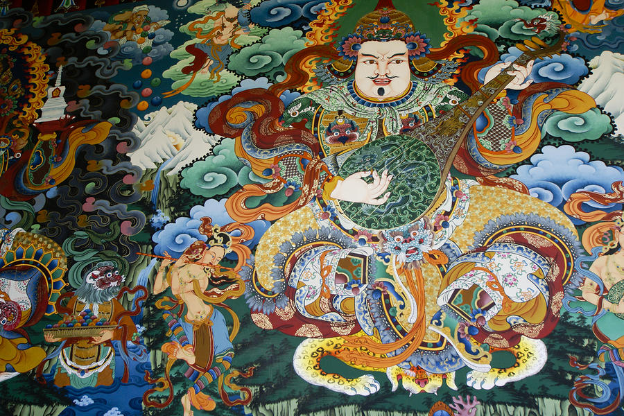 Tibetan buddhist mural by michele burgess for Buddha mural art
