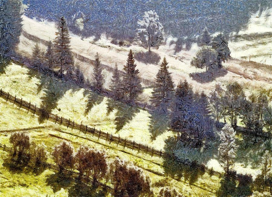 Nature Painting - Transylvania Landscape by Odon Czintos