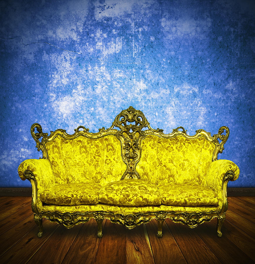 Victorian Sofa In Retro Room Photograph  - Victorian Sofa In Retro Room Fine Art Print