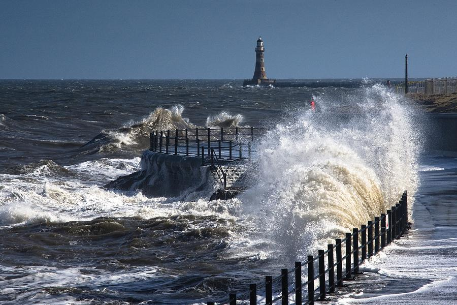 Waves Crashing By Lighthouse At Photograph by John Short