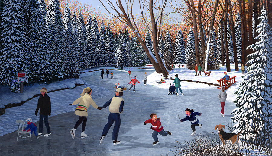Winter Fun At Bowness Park Painting