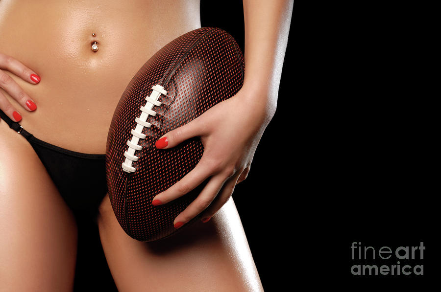Woman With A Football Photograph  - Woman With A Football Fine Art Print