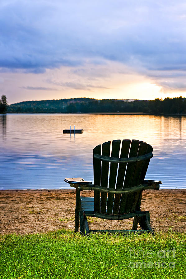 Wooden Chair At Sunset On Beach Photograph