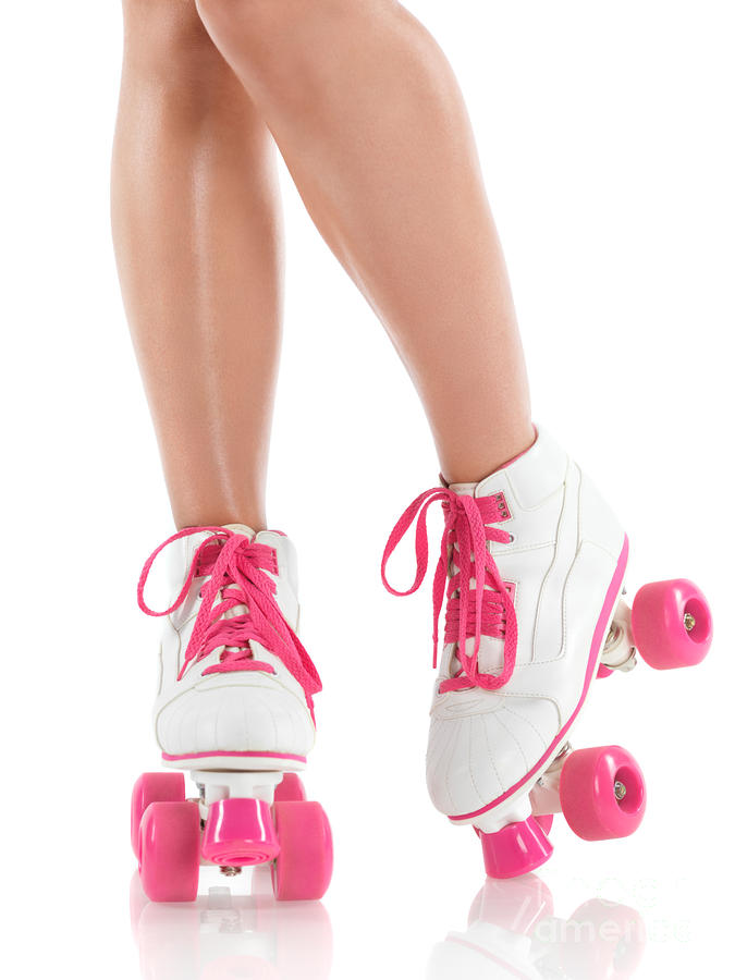 Young Woman Wearing Roller Derby Skates Photograph  - Young Woman Wearing Roller Derby Skates Fine Art Print