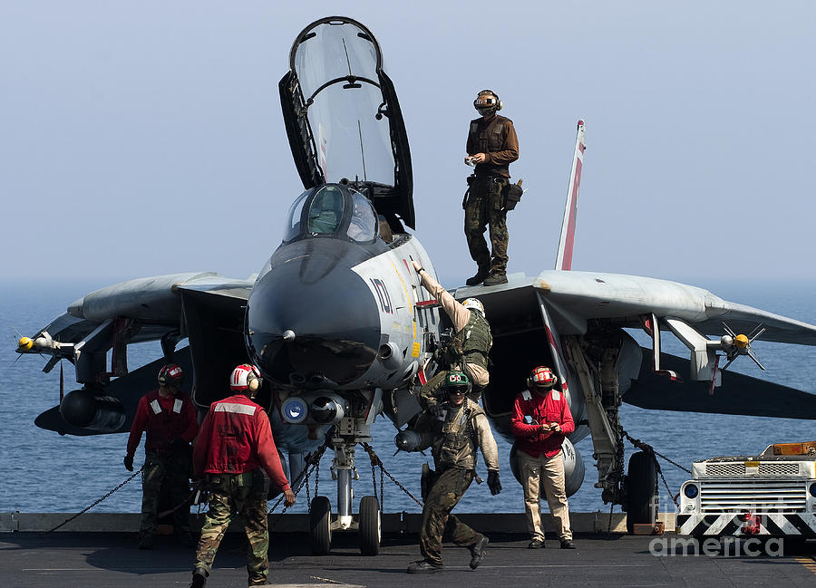 An F-14d Tomcat On The Flight Deck Photograph  - An F-14d Tomcat On The Flight Deck Fine Art Print