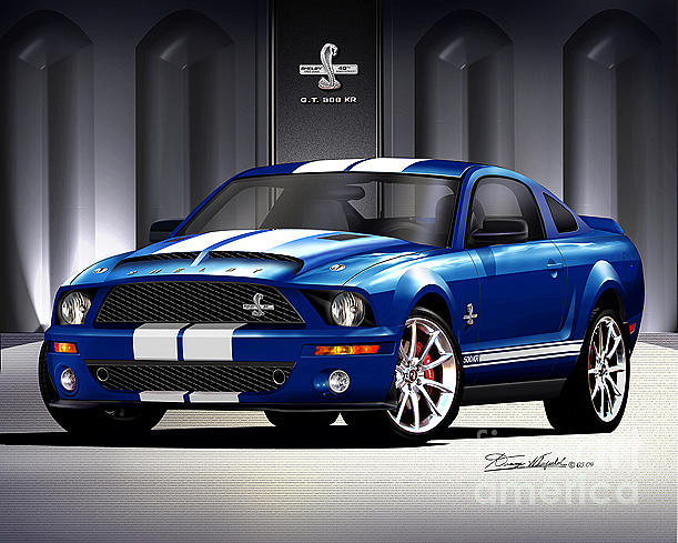2007 Ford Mustang Shelby Gt500 Drawing By Danny Whitfield