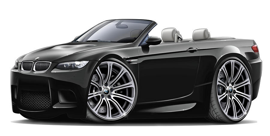2008-11 Bmw E93 M3 Black Convertible Digital Art  - 2008-11 Bmw E93 M3 Black Convertible Fine Art Print