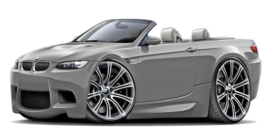 2008-11 Bmw E93 M3 Grey Convertible Digital Art  - 2008-11 Bmw E93 M3 Grey Convertible Fine Art Print