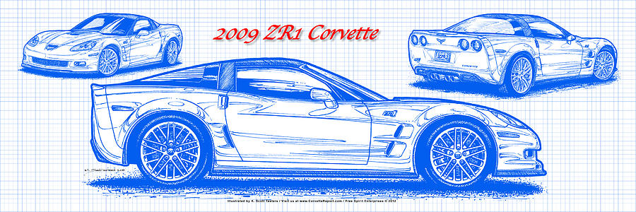 2009 C6 Zr1 Corvette Blueprint Drawing