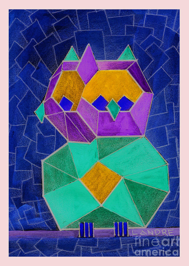Owl Painting - 2010 Cubist Owl Negative by Lilibeth Andre