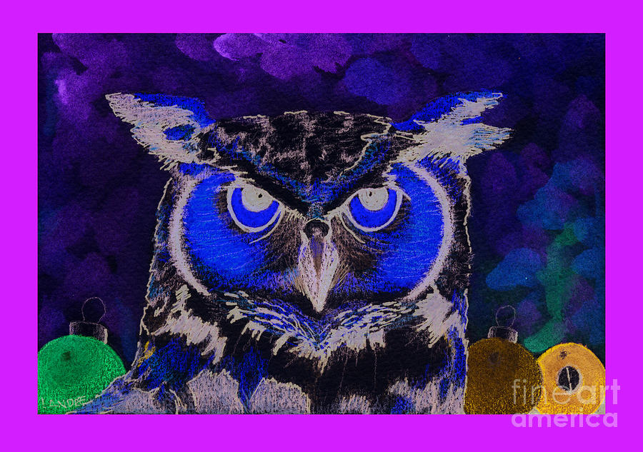Owl Painting - 2011 Dreamy Horned Owl Negative by Lilibeth Andre