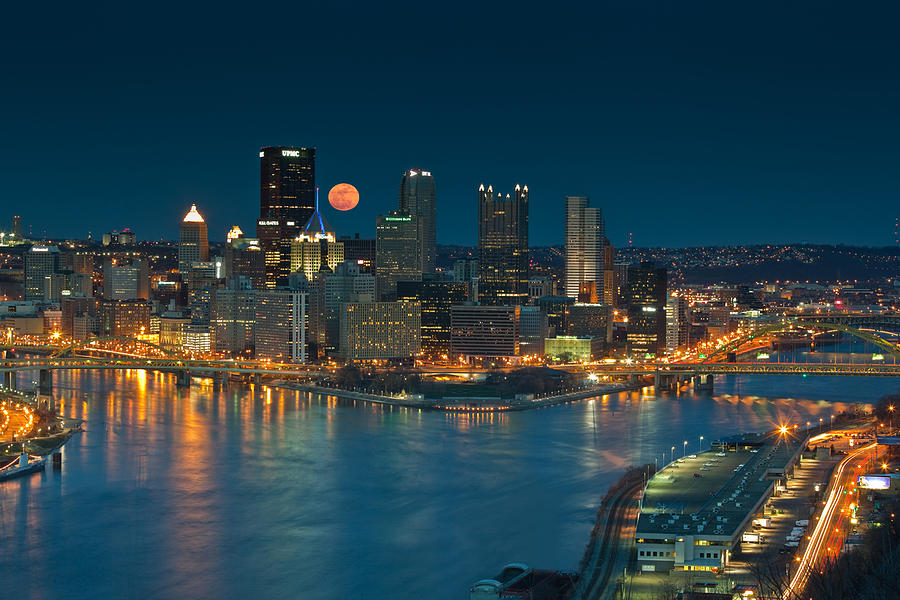2011 Supermoon Over Pittsburgh Photograph  - 2011 Supermoon Over Pittsburgh Fine Art Print