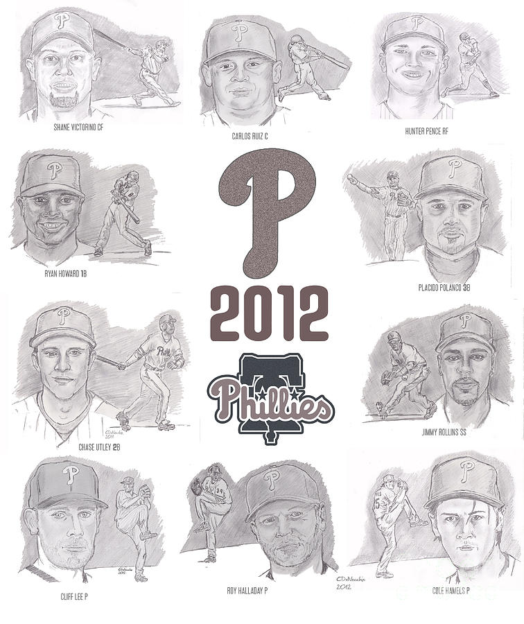 2012 Phightin Phils Drawing  - 2012 Phightin Phils Fine Art Print