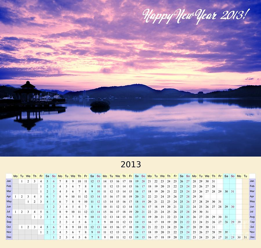 2013 Wall Calendar With Sun Moon Lake Sunrise Photograph  - 2013 Wall Calendar With Sun Moon Lake Sunrise Fine Art Print