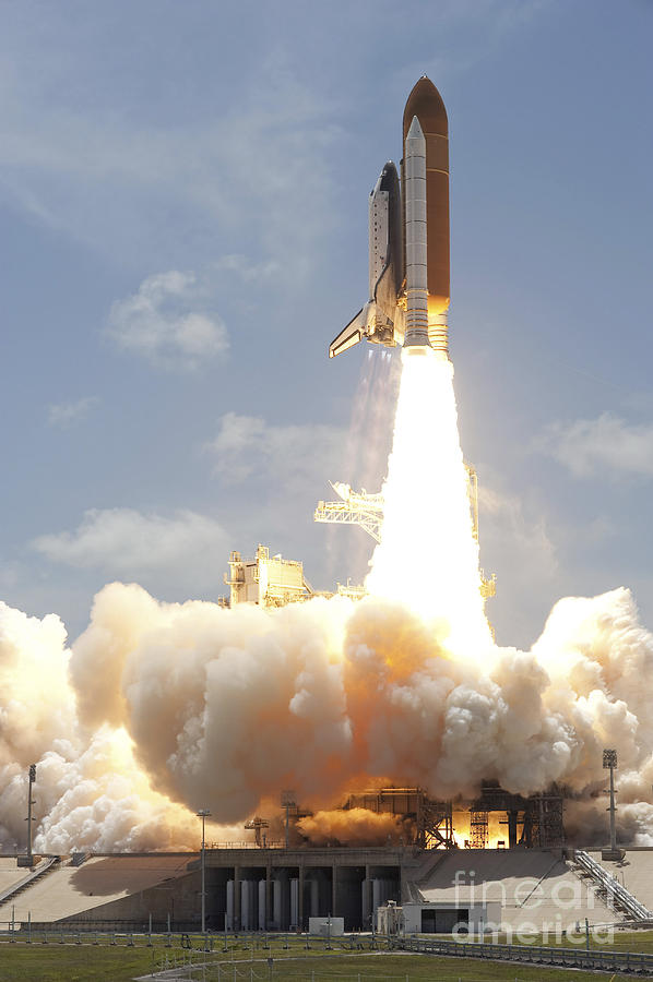Space Shuttle Atlantis Lifts Photograph  - Space Shuttle Atlantis Lifts Fine Art Print