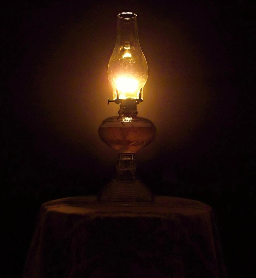 2256 Antique Kerosene Table Lamp At Night By David Meier