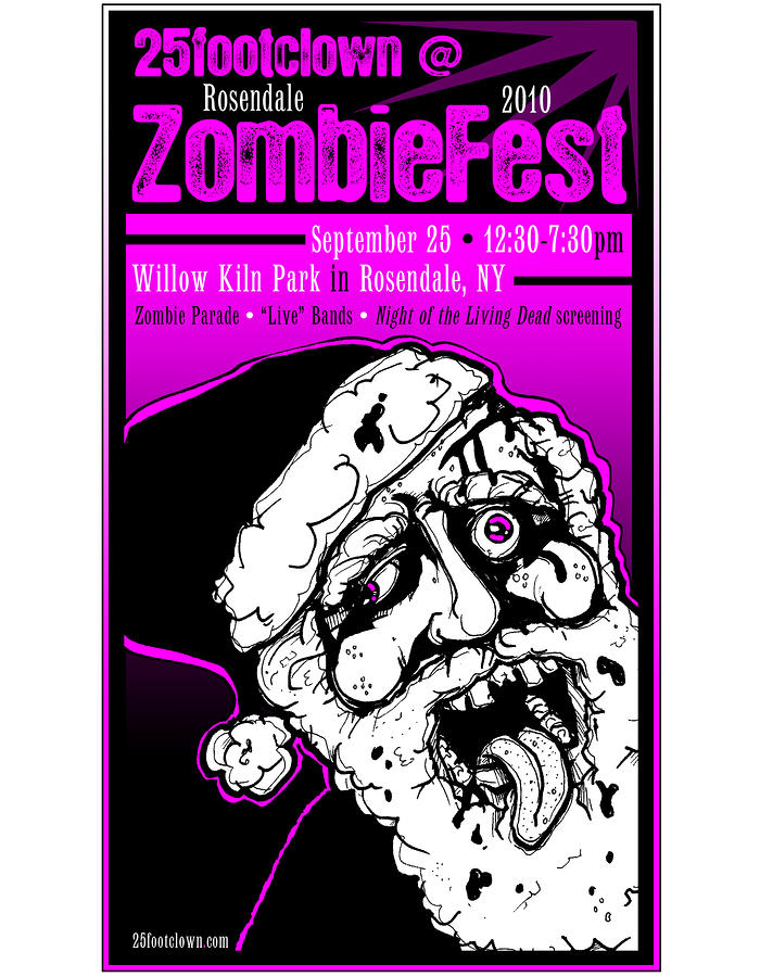 25footclown Zombiefest Poster Drawing