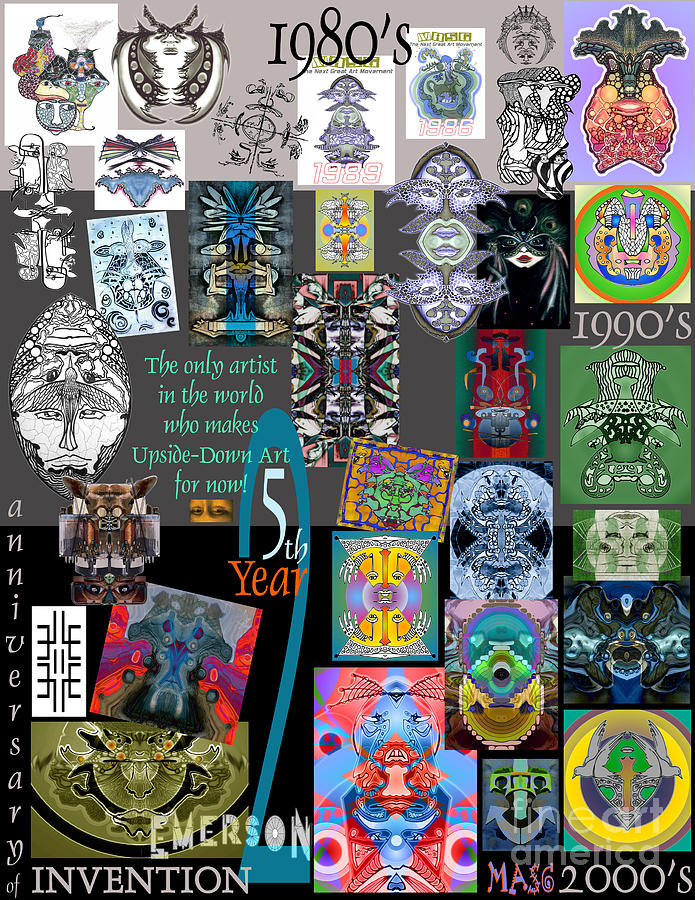 25th Anniversary Collectors Poster By Upside Down Artist And Inventor L R Emerson II Drawing