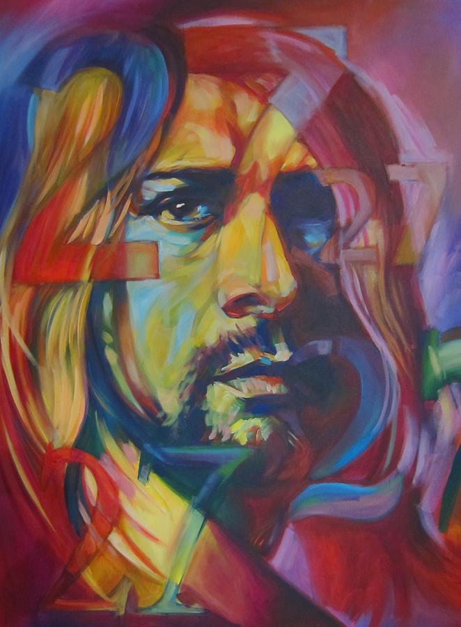 Kurt Cobain Canvas Portrait Nirvana Foo Fighters Dave Grohl Grunge Rock Music Nineties  Painting - 27 by Steve Hunter