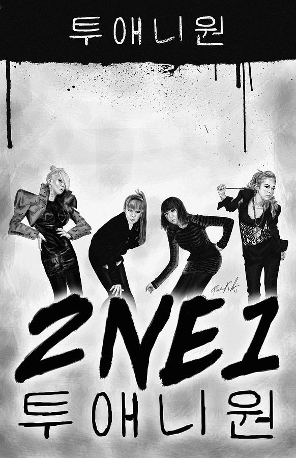 2ne1 Korean Pop Power Drawing  - 2ne1 Korean Pop Power Fine Art Print