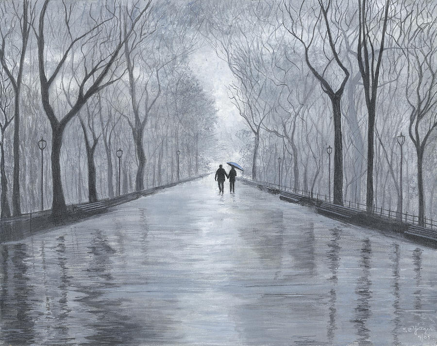A Walk In The Park In Black And White Painting  - A Walk In The Park In Black And White Fine Art Print