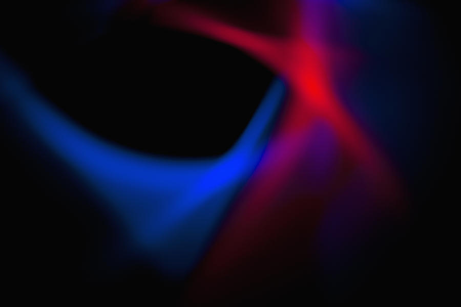 Abstract Patterns Of Blue And Red Light On A Black ...