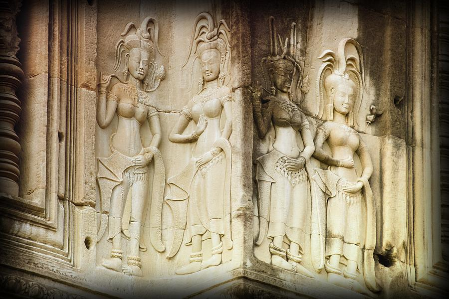 Bas-reliefs Of Hindu Myths At Angkor Photograph  - Bas-reliefs Of Hindu Myths At Angkor Fine Art Print
