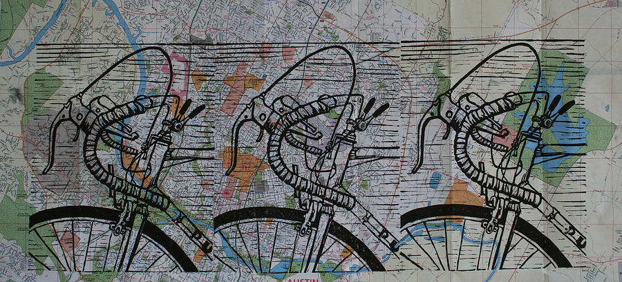 Bike Drawing - Bike 2 On Map by William Cauthern