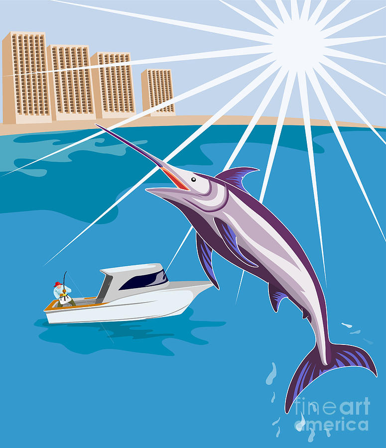 Blue Marlin Fish Jumping Retro Digital Art