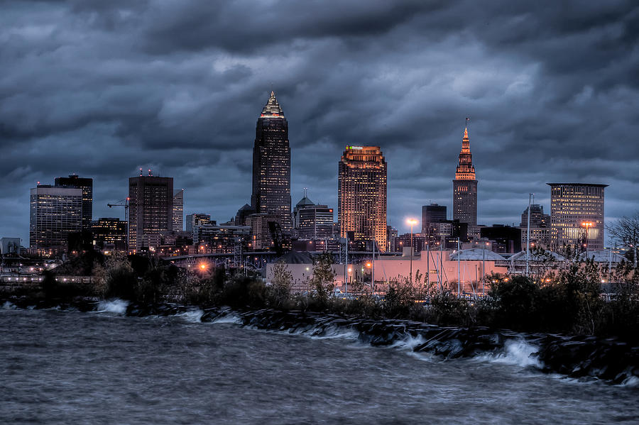 Cleveland Skyline At Dusk From Edgewater Park Photograph