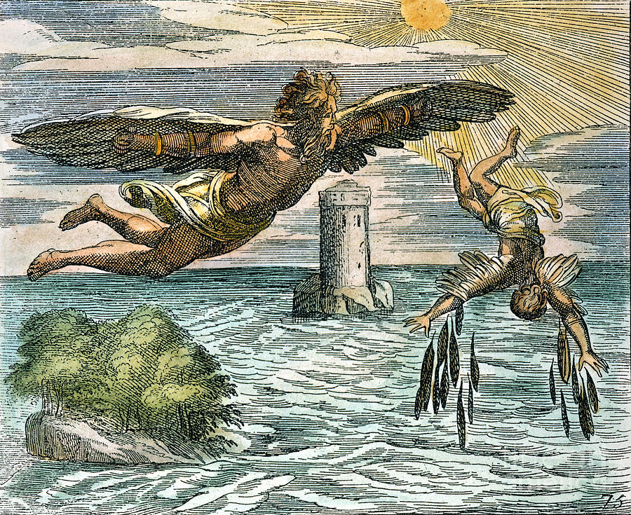 daedalus and icarus Icarus' father daedalus, a very talented and remarkable athenian craftsman, built the labyrinth for king minos of crete near his palace at knossos to imprison the minotaur, a half-man, half-bull monster born of his wife and the cretan bull.
