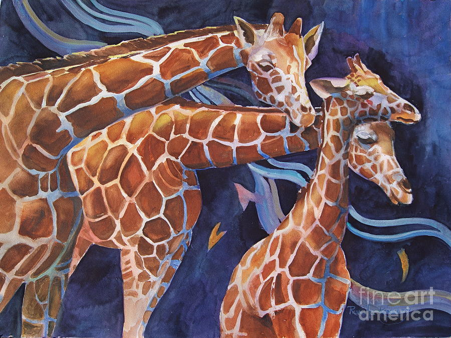 3 Giraffes      Heads Up Painting  - 3 Giraffes      Heads Up Fine Art Print