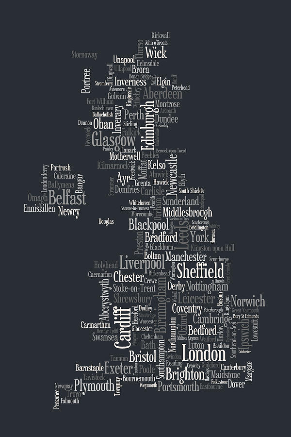 Great Britain Uk City Text Map Digital Art  - Great Britain Uk City Text Map Fine Art Print