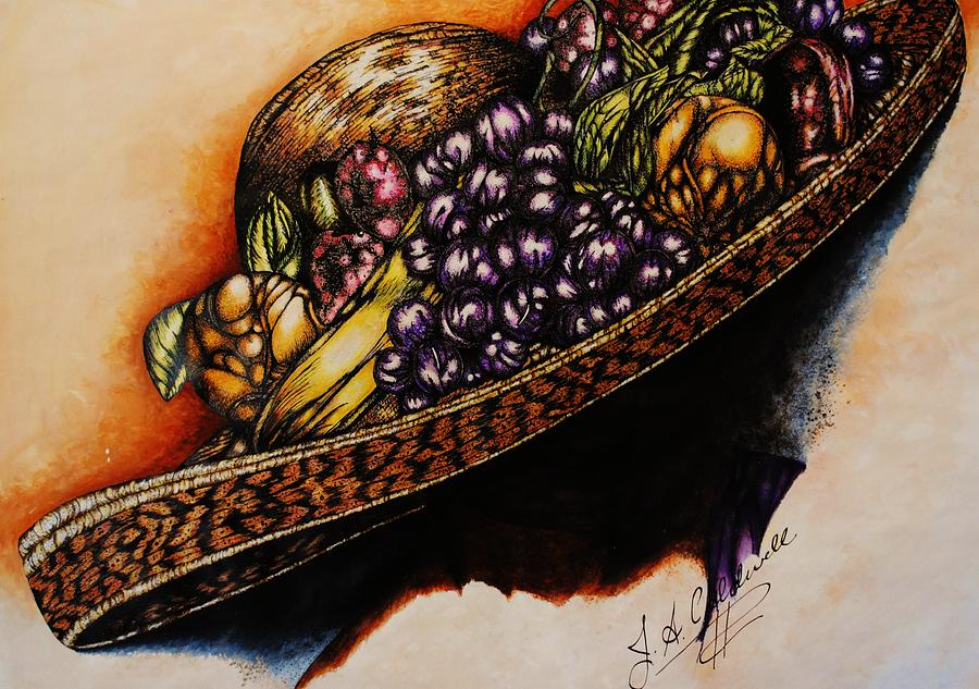Hat With Fruit Mixed Media  - Hat With Fruit Fine Art Print