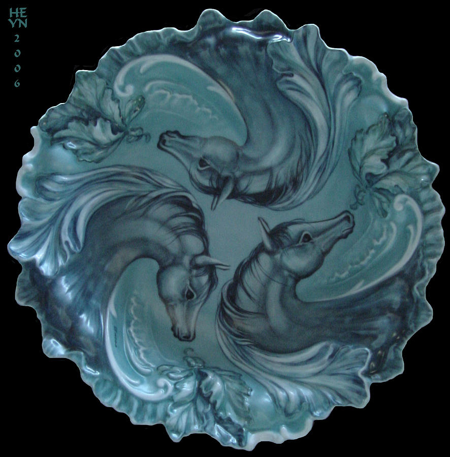 3 Horses In Teal Ceramic Art  - 3 Horses In Teal Fine Art Print